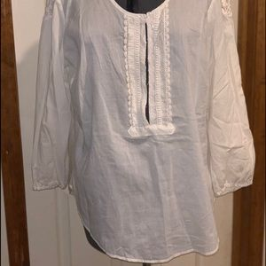 New York & Company White Blouse with Lace